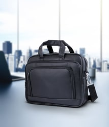 Tuscany Black Premium P.U. Leather Office Laptop Bag- 15.6 Inch