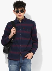 Navy Blue Striped Slim Fit Casual Shirt