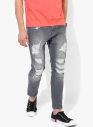Grey Washed Low Rise Skinny Fit Jeans