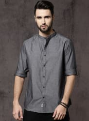 Charcoal Grey Solid Casual Shirt