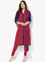 Red Printed Cotton Churidar Kameez Dupatta
