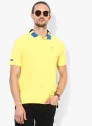 Yellow Textured Regular Fit Polo T-Shirt