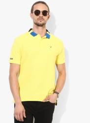 Yellow Textured Regular Fit Polo T-Shirt
