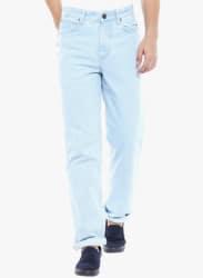 Light Blue Solid Mid Rise Regular Fit Jeans