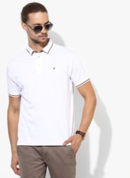 White Solid Regular Fit Polo T-Shirt