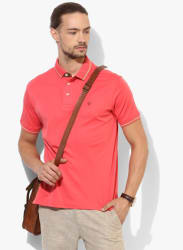 Pink Solid Regular Fit Polo T-Shirt