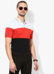 Multicoloured Striped Regular Fit Polo T-Shirt