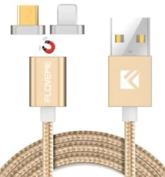 FLOVEME 2 in 1 USB Magnetic Data Charging Charger Cable Cord For iPhone,Android