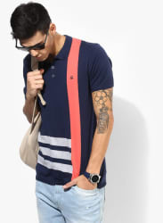 Navy Blue Striped Regular Fit Polo T-Shirt