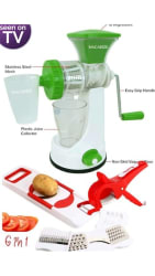100% ABS 6in 1 Slicer & Shredder 2 in 1 Veg Cutter Hand Juicer with Waste Collector and Stainless Steel Mash Lowest Price on PaytmMall by MACARIZE