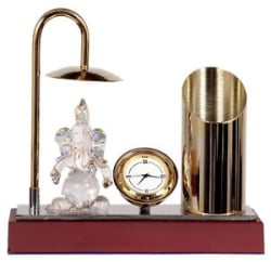 Ganesh Ji Crystal Brass Showpiece Table Clock Pen Stand - Gold & Silver Plating
