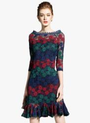 Multicoloured Self Pattern Shift Dress