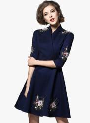 Navy Blue Coloured Embroidered Skater Dress
