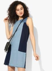 Blue Coloured Washed Shift Dress