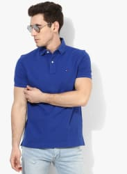 Blue Solid Regular Fit Polo T-Shirt