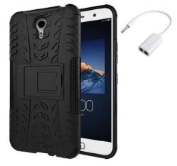 YGS Tough Rugged Dual Layer Back Case Kickstand for Lenovo ZUK Z1-Black With Audio Splitter