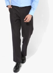 Grey Solid Regular Fit Formal Trouser