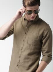 Brown Solid Slim Casual Shirts