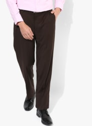 Brown Solid Regular Fit Formal Trouser