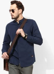 Navy Blue Solid Slim Fit Casual Shirt