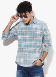 Aqua Blue Checked Regular Fit Casual Shirt