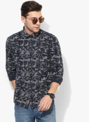 Navy Blue Printed Regular Fit Casual Shirt