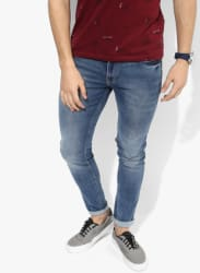 Blue Washed Low Rise Slim Fit Jeans (Chinox)