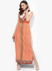 Orange Coloured Printed Maxi Dress