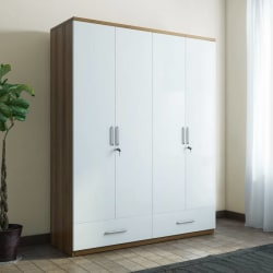 Spacewood Classy Engineered Wood 4 Door Wardrobe (Finish Color - White)