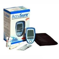 AccuSure Glucometer with 25 Test Strips Free