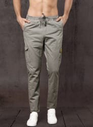 Grey Solid Corduroy Trousers