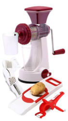 Premium 100% ABS 6 in 1 Slicer & Shredder 2 in 1 Veg Cutter Hand Juicer with Waste Collector and Stainless Steel Mash
