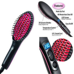 Hot Electric Hair Straightener Comb LCD Iron Brush Auto Fast Hair Massager Tool