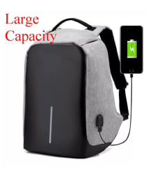 TR Black And Grey Anti Theft Laptop Backpack Bag for Men & Women with Inbuilt USB Charging Point