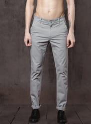 Grey Solid Chinos