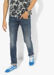 Blue Washed Low Rise Slim Fit Jeans (65504)