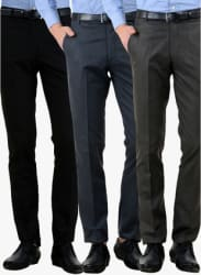 Pack Of 3 Multicoloured Slim Fit Formal Trousers