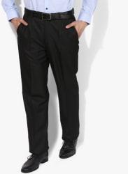 Black Solid Regular Fit Formal Trouser