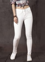 White Regular Fit Mid-Rise Clean Look Stretchable Jeans