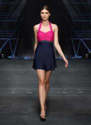 Navy Blue Solid Beachwear Dress