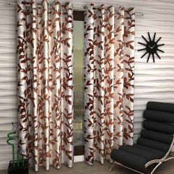 India Furnish Eyelet Polyester Curtain Window Length - Set Of 5 Pcs (IFCUR15095L(5) ), brown