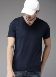 Navy Blue Solid V Neck T-Shirt