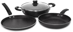 Flipkart SmartBuy Induction Bottom Splatter Finish Cookware Set of 3 (Aluminium, 4 - Piece)