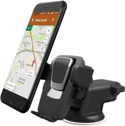 BHAVANS Car Mobile Holder Single Clamp for Dashboard & Windshield - Black