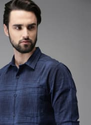 Navy Blue Self Pattern Casual Shirt
