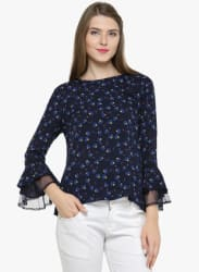 Navy Blue Printed Blouse