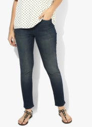 Navy Blue Washed High Rise Skinny Fit Jeans