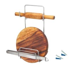 Homeware Stainless Steel Chakla, Belan & Chimta (Rolling Pin) Holder With Free 2 Nails