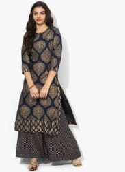 Round Neck 3/4Th Sleeves Gold Printed Kurta Along With Flared Palazzo