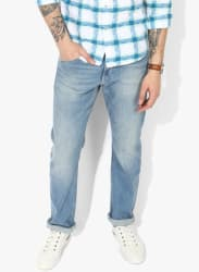 Blue Washed Mid Rise Regular Fit Jeans (Rodeo)